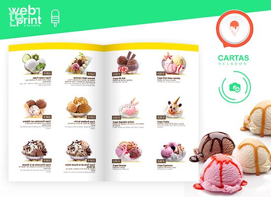 Cartas de helados y postres