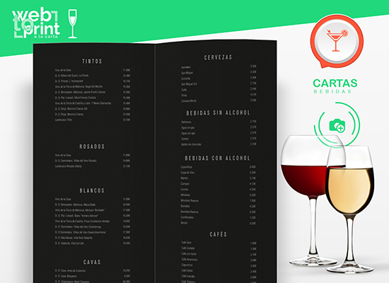 Carta de vinos y bebidas